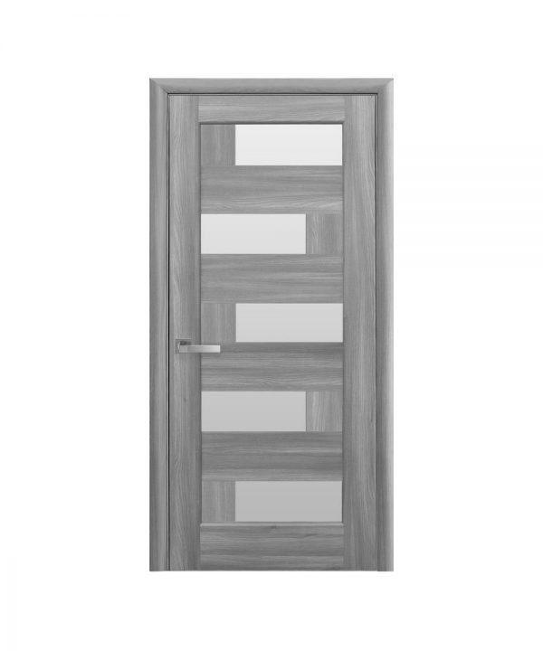 Межкомнатные двери Пиана ПВХ DeLuxe бук пепельный со стеклом сатин