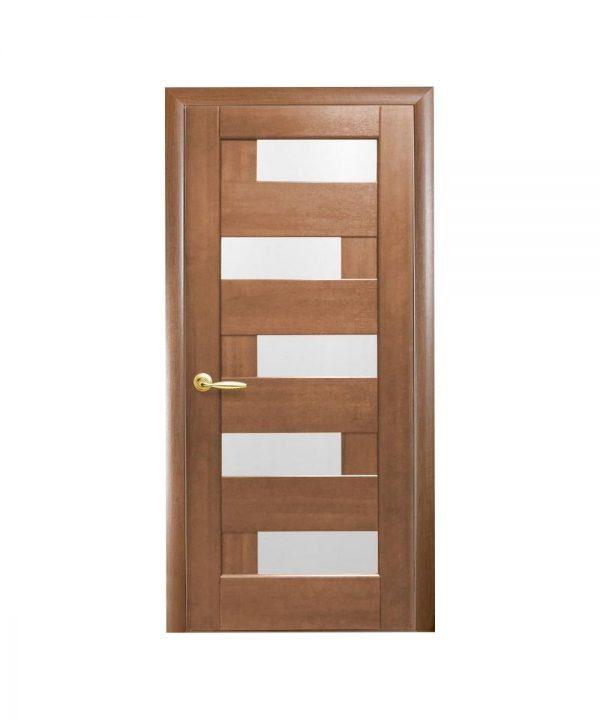 Межкомнатные двери Пиана ПВХ DeLuxe золотая ольха со стеклом сатин