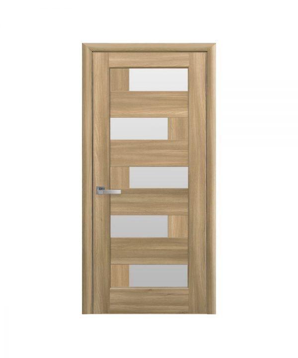 Межкомнатные двери Пиана ПВХ DeLuxe золотой дуб со стеклом сатин