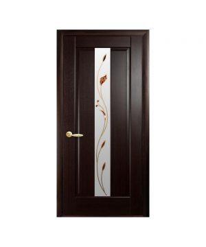 Межкомнатные двери Премьера ПВХ DeLuxe венге new со стеклом сатин и рисунком Р1