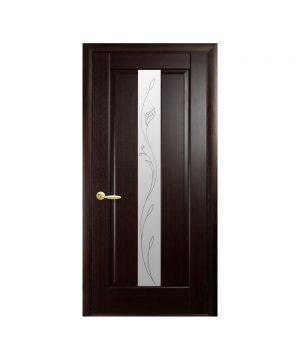 Межкомнатные двери Премьера ПВХ DeLuxe венге new со стеклом сатин и рисунком Р2
