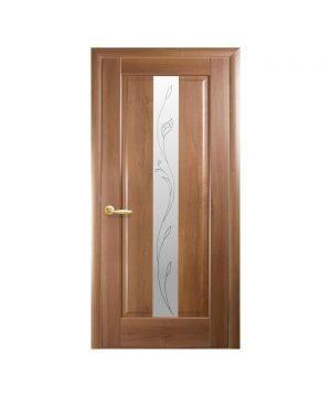 Межкомнатные двери Премьера ПВХ DeLuxe золотая ольха со стеклом сатин и рисунком Р2