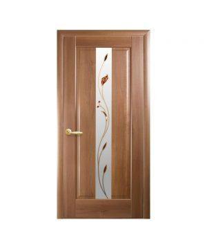 Межкомнатные двери Премьера ПВХ DeLuxe золотая ольха со стеклом сатин и рисунком Р1