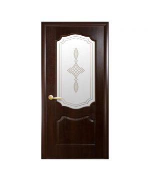 Межкомнатные двери Вензель ПВХ DeLuxe каштан со стеклом сатин и рисунком Р1