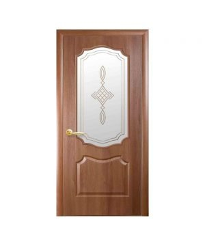 Межкомнатные двери Вензель ПВХ DeLuxe золотая ольха со стеклом сатин и рисунком Р1