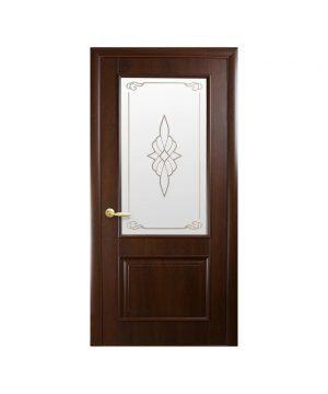 Межкомнатные двери Вилла ПВХ DeLuxe каштан со стеклом сатин и рисунком Р1