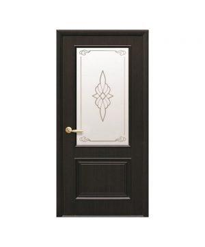 Межкомнатные двери Вилла ПВХ DeLuxe венге new со стеклом сатин и рисунком Р1