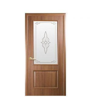 Межкомнатные двери Вилла ПВХ DeLuxe золотая ольха со стеклом сатин и рисунком Р1