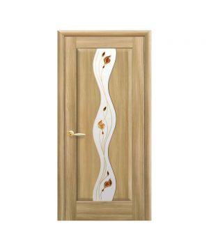 Межкомнатные двери Волна ПВХ DeLuxe золотой дуб со стеклом сатин и рисунком Р1