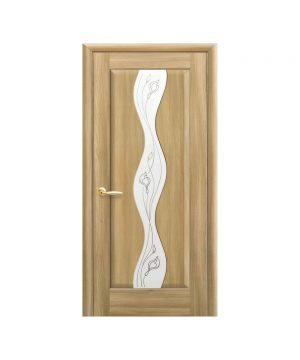 Межкомнатные двери Волна ПВХ DeLuxe золотой дуб со стеклом сатин и рисунком Р2
