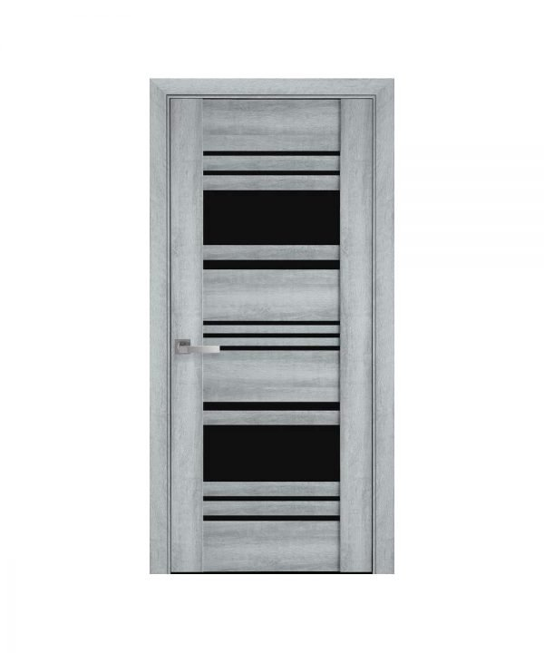 Межкомнатные двери Ницца ПВХ Viva бук кашемир с графитовым стеклом