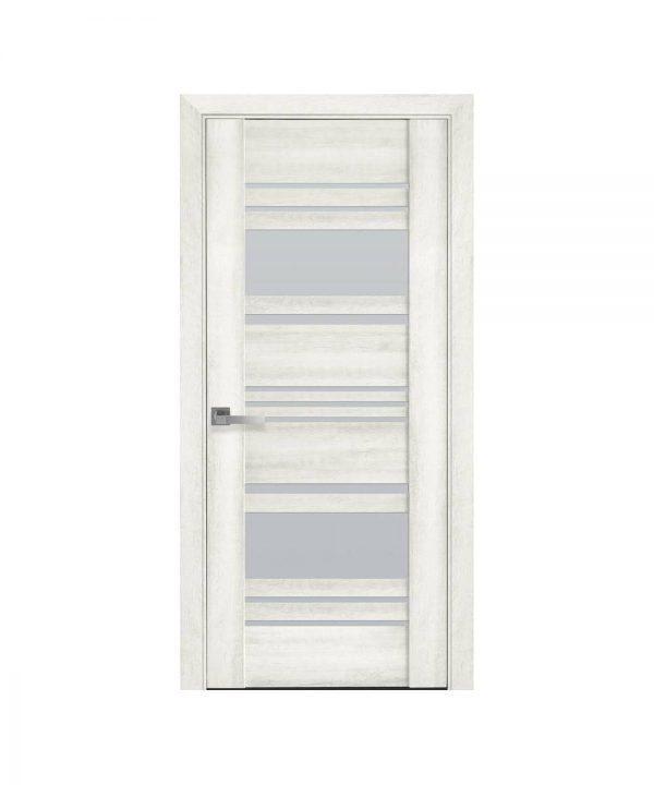Межкомнатные двери Ницца ПВХ DeLuxe ясень new со стеклом сатин