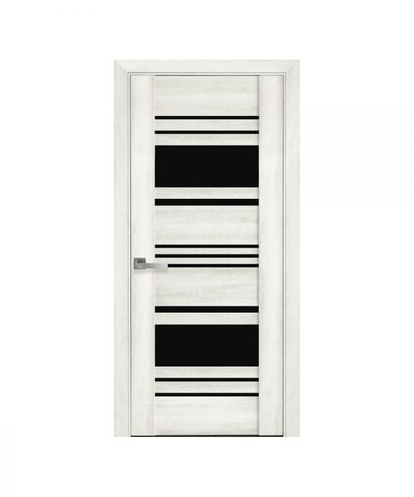 Межкомнатные двери Ницца ПВХ DeLuxe ясень new с графитовым стеклом