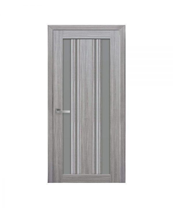 Межкомнатные двери Верона С2 Смарт жемчуг серебряный с графитовым стеклом