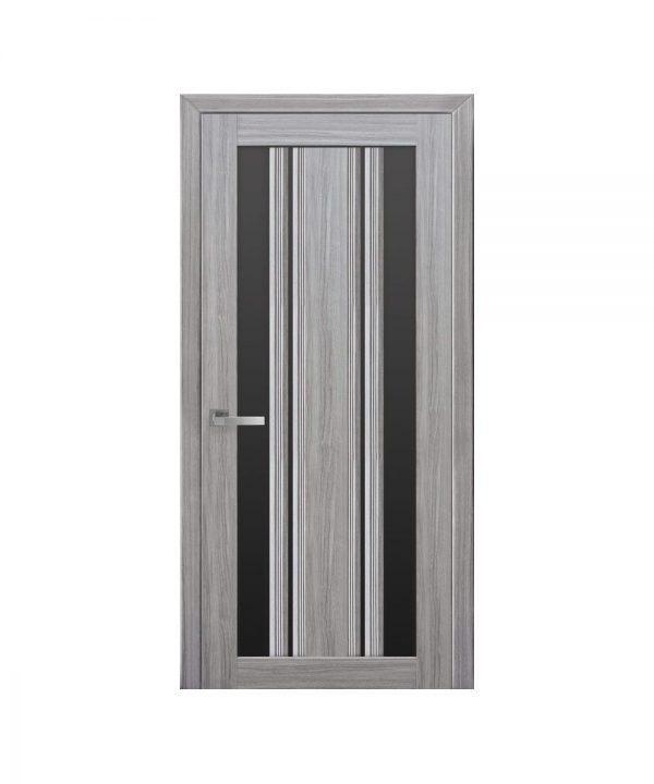 Межкомнатные двери Верона С2 Смарт жемчуг серебряный С черным стеклом