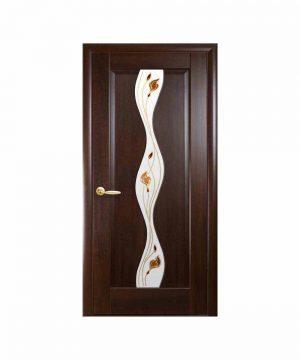 Межкомнатные двери Волна ПВХ DeLuxe каштан со стеклом сатин и рисунком Р1