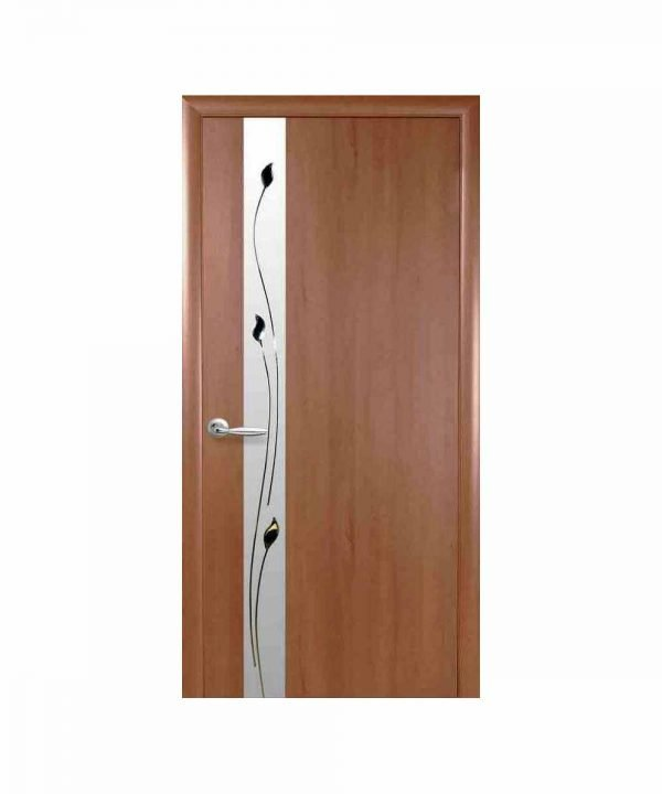 Межкомнатные двери Злата ПВХ DeLuxe золотая ольха С зеркалом и рисунком Р1