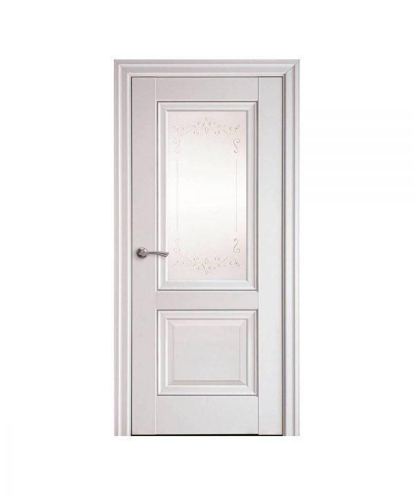 Межкомнатные двери Имидж Premium белый матовый со стеклом сатин и молдингом и рисунком Р2