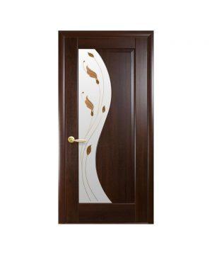 Межкомнатные двери Эскада ПВХ DeLuxe каштан со стеклом сатин и рисунком Р1