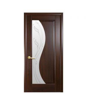 Межкомнатные двери Эскада ПВХ DeLuxe каштан со стеклом сатин и рисунком Р2