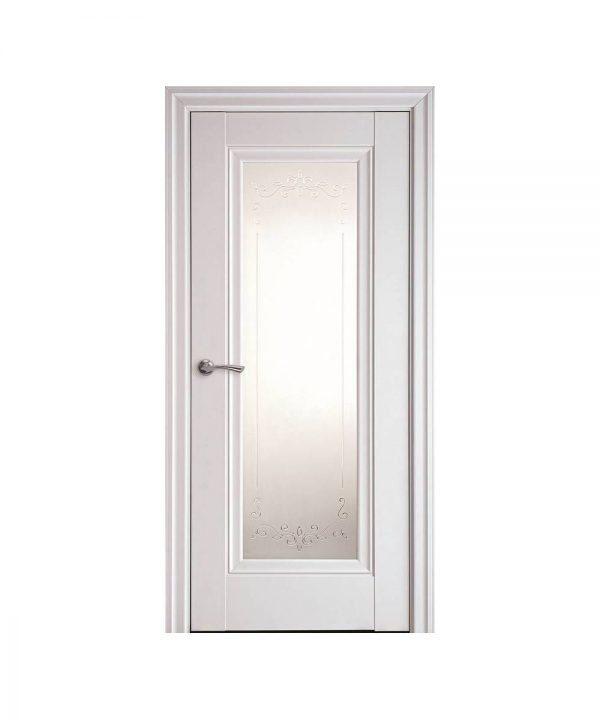 Межкомнатные двери Престиж Premium белый матовый со стеклом сатин и рисунком Р2