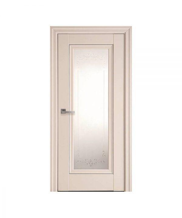 Межкомнатные двери Престиж Premium магнолия со стеклом сатин и молдингом и рисунком Р2