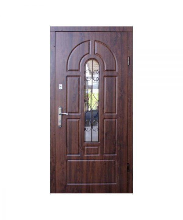 Входные двери ФОРТ Регион Арка 960 Л Улица дуб темный+ковка