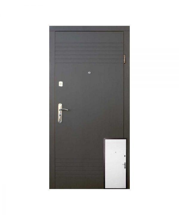 Входные двери Форт Эконом Дуэт 860 Л Квартира  венге темный белая структура
