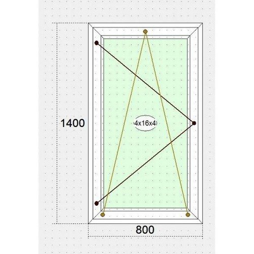 Одностворчатое металлопласт. окно 800 х 1400
