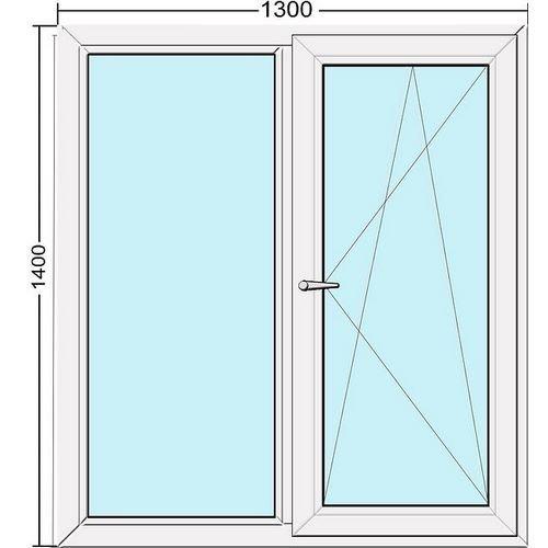 Двустворчатое металлопласт. окно 1300 х 1400 S500