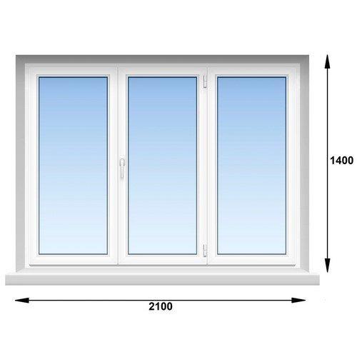 Трехстворчатое металлопласт. окно 2100 х 1400
