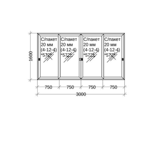 Алюминиевый раздвижной балкон 3000 х 1600 мм х 800мм