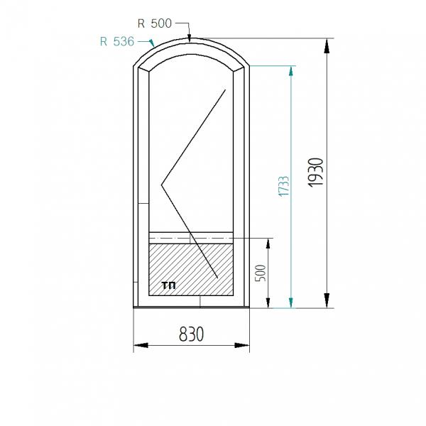 Межкомнатные арочные двери в профиле S500 (двухсторонняя ламинация) цвет Орех