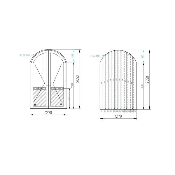 Арочная двухстворчатая дверь S500 (двухсторонняя ламинация) цвет Горная сосна