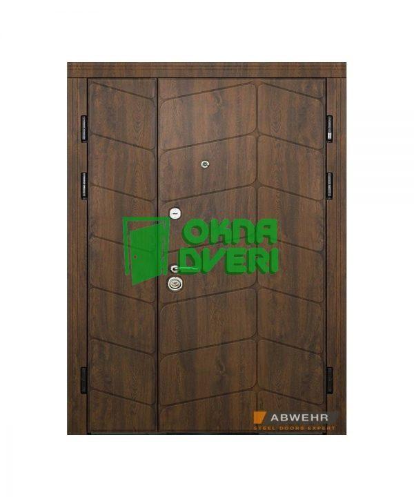 Входные полуторные двери Абвер модель Briena (цвет Дуб темный) комплектация QUADRO