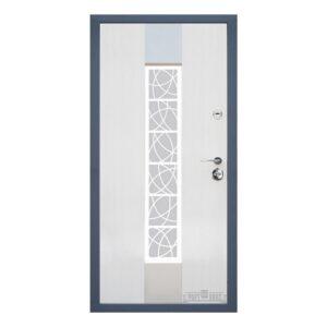 Входные двери Форт Нокс КОТТЕДЖ New  SP-2 Бетон 3D+серебро(стеклопакет бронза)  Белое дерево + серебро  (стеклопакет серебро)