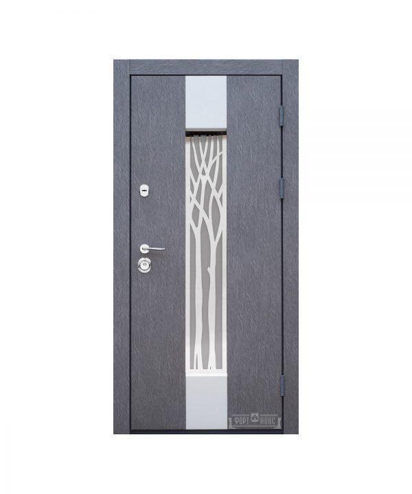 Входные двери Форт Нокс КОТТЕДЖ New  SP-3 Бетон 3D+серебро (стеклопакет бронза) Белое дерево + серебро  (стеклопакет серебро)