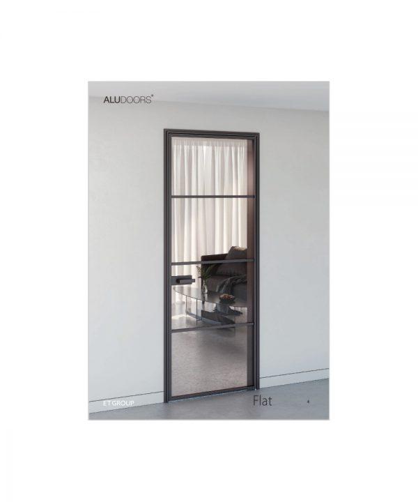 Стеклянно алюминиевые двери модель Flat