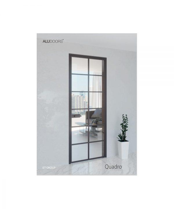 Стеклянно алюминиевые двери модель Quadro