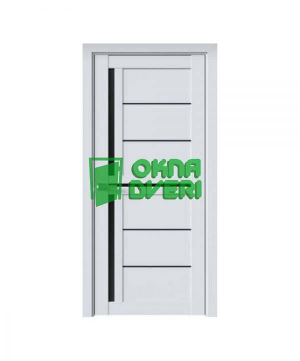 Межкомнатные двери Диана ПВХ DeLuxe арктик мат с черным стеклом