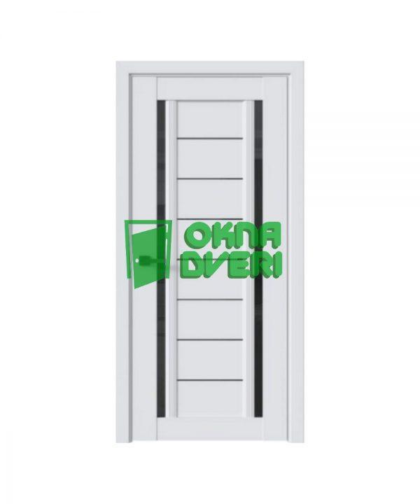 Межкомнатные двери Флоренция С2 ПВХ DeLuxe арктик мат с черным стеклом