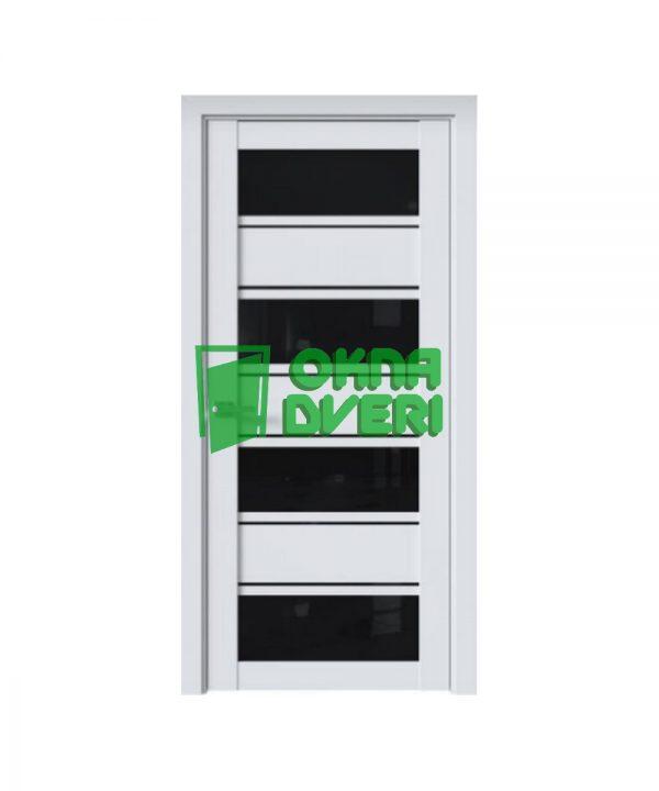 Межкомнатные двери Элиза ПВХ DeLuxe арктик мат с черным стеклом