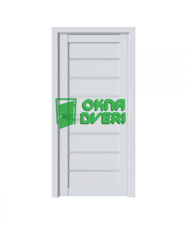 Межкомнатные двери Леона ПВХ DeLuxe арктик мат со стеклом сатин