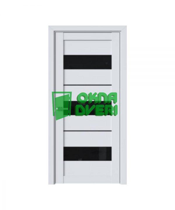 Межкомнатные двери Лилу ПВХ DeLuxe арктик мат с черным стеклом