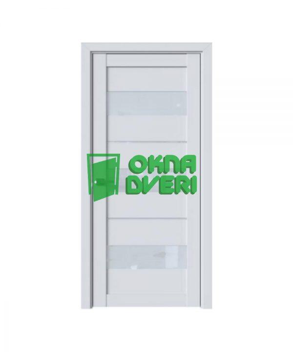 Межкомнатные двери Лилу ПВХ DeLuxe арктик мат со стеклом сатин