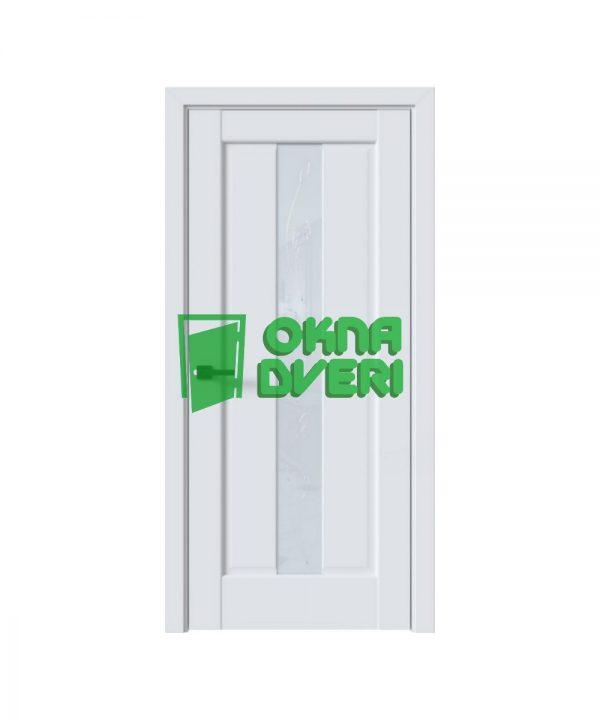 Межкомнатные двери Премьера ПВХ DeLuxe арктик мат со стеклом сатин и рисунком Р2
