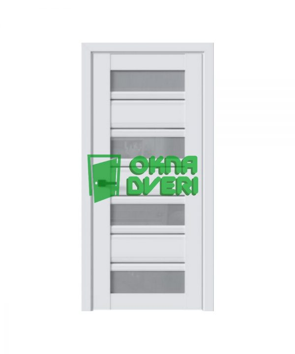 Межкомнатные двери Венеция С2 ПВХ DeLuxe арктик мат со стеклом сатин