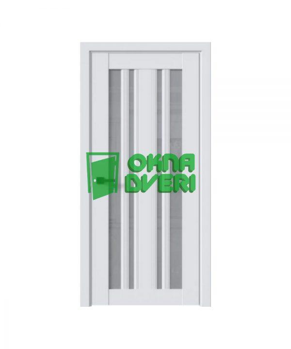Межкомнатные двери Верона С2 ПВХ DeLuxe арктик мат со стеклом сатин
